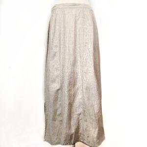 Woolrich 100% linen maxi side slits modest skirt